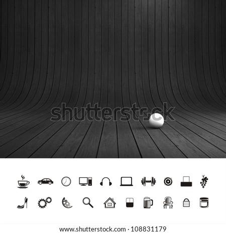 Creative dark black wood background. Professional photo studio place.