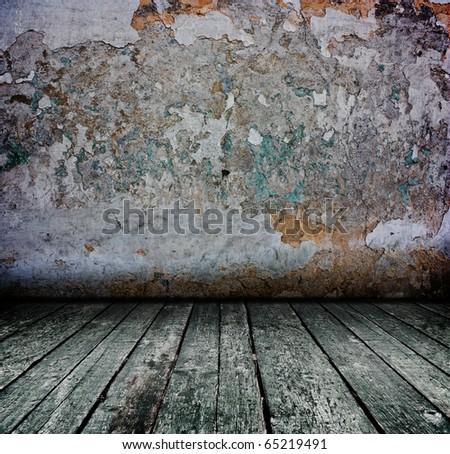 creative dark grunge concrete interior with wooden floor - artistic shadows added