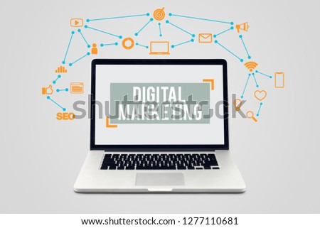 Creative design digital maketing technology concept with laptop computer and communication icons #1277110681