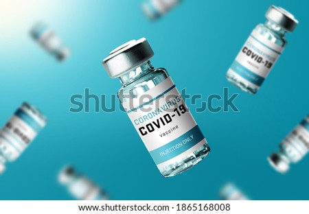 Creative design for Coronavirus vaccine background. Covid-19 corona virus vaccination with vaccine bottle and syringe injection tool for covid19 immunization treatment.