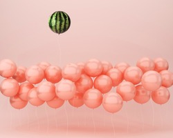 Creative design outstanding balloon watermelon floating on pastel pink background. minimal idea food and fruit concept.