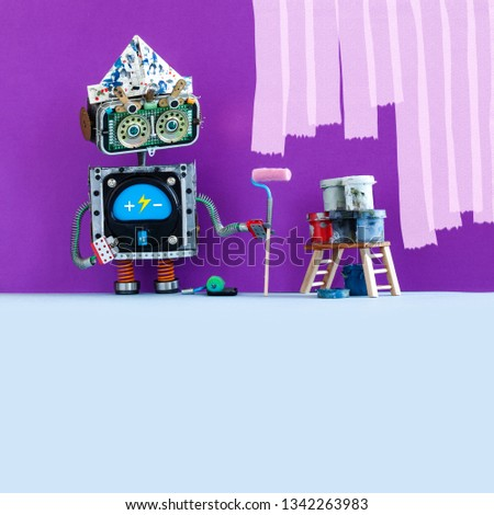 Creative design robot painter at work. Funny robotic decorator with paint roller and buckets, purple colored room wall redecoration. gray floor copy space