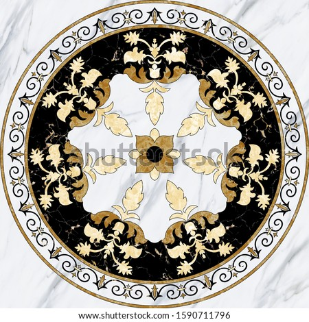 Creative designation of lovely Chinese art (Flower) in the middle with marble texture for floor, bottom, wall, TV backdrop, or receptionist backdrop decoration. 3D rendering