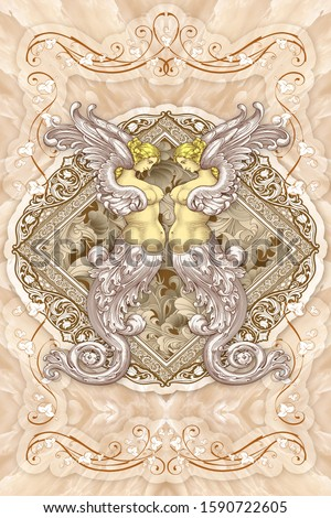 Creative designation of lovely two angel art  in the middle with marble texture for floor, bottom, wall, TV backdrop, or receptionist backdrop decoration. 3D rendering