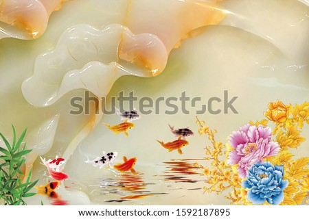 Creative designation of nine fishes jump from the water near flower with pearl background for wall, TV backdrop, or receptionist backdrop decoration. 3D rendering