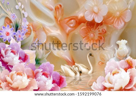 Creative designation of pearl blossom flower near pearl flower with two duck is swimming for wall, TV backdrop, or receptionist backdrop decoration. 3D rendering