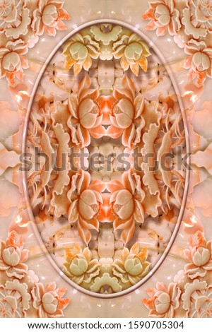 Creative designation of pink pearl lotus flower in the middle with marble texture for floor, bottom, wall, TV backdrop, or receptionist backdrop decoration. 3D rendering