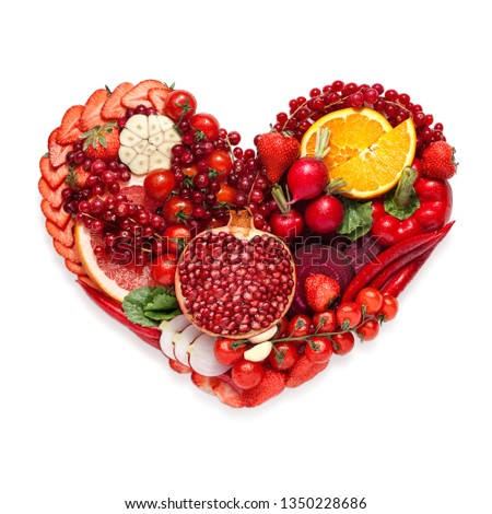 Creative diet food healthy eating concept photo of heart made of fresh greens and vegetables full of vitamins as a symbol of romance love valentine holiday on white background. #1350228686