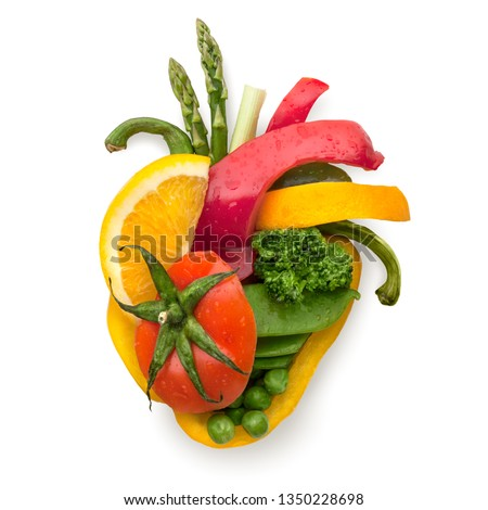 Creative diet food healthy eating concept photo of human heart made of fresh fruits and vegetables full of vitamins romance love valentine holiday on white background. #1350228698