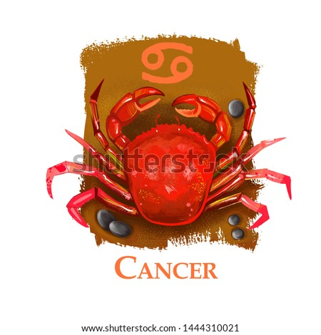 Creative digital illustration of astrological sign Cancer. Fourth of twelve signs in zodiac. Horoscope water element. Logo sign with crab. Graphic design clip art for web and print. Add any text