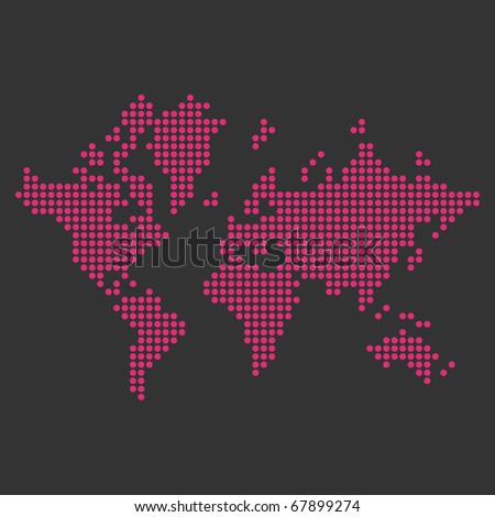 Creative dotted world map concept on grey background