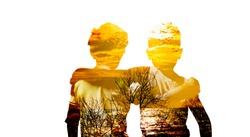 Creative double exposure  a portrait of two best friends holding shouder