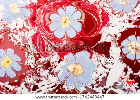 Creative ebru art background with  abstract paint.  Marbling texture floral patterns Stok fotoğraf ©
