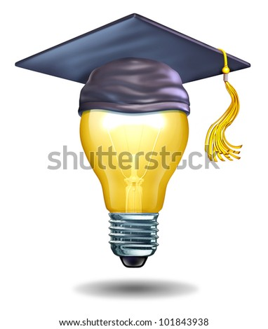 Creative education concept with a light bulb and a mortar cap or graduation hat as symbols of schools teaching artistic or creativity oriented studies to inspire new ideas and innovation in students.