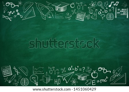 Creative educational sketch on chalkboard background with copy space. Education and complex concept. 3D Rendering