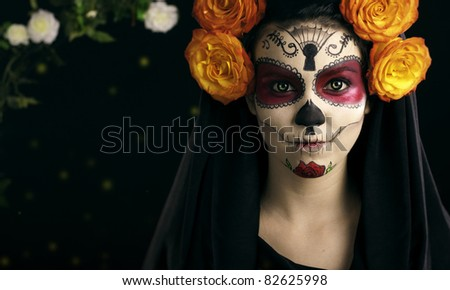 Creative face paint portrait flower .Day of the Dead persons.halloween