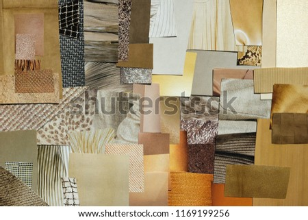 Creative fall atmosphere art mood board. Handmade collage made of magazines and torn paper cut clippings. Mixed texture background with space for text.  Beige, brown and taupe colors. #1169199256