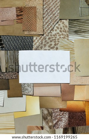 Creative fall atmosphere art mood board. Handmade collage made of magazines and torn paper cut clippings. Mixed texture background with space for text.  Beige, brown and taupe colors. #1169199265
