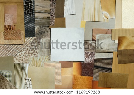 Creative fall atmosphere art mood board. Handmade collage made of magazines and torn paper cut clippings. Mixed texture background with space for text.  Beige, brown and taupe colors. #1169199268
