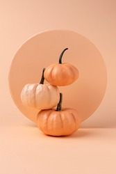 Creative Fall layout made of pumpkins. Autumn, Halloween or Thanksgiving season concept. Flat lay.