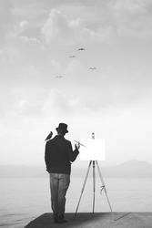 creative fantastic black and white painter looking for inspiration