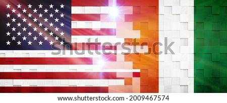 Creative Flags Design of (United States and Côte d'Ivoire) flags banner, 3D illustration. Photo stock ©