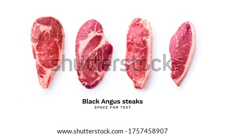 Creative flat lay with black angus prime beef steak variety isolated on white background with copy space. Steak types