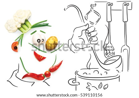 Creative food concept of a funny cartoon chef, made of vegetables, cooking  a soup on sketchy background.  #539110156