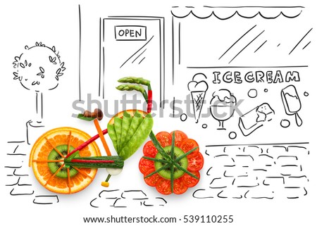 Creative food concept photo of a bicycle, made of fruits and vegs, parked on sketchy urban background. #539110255