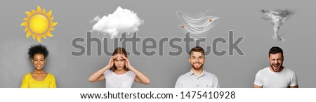 Creative forecast. Four different weather conditions with human mood on gray background, panorama #1475410928