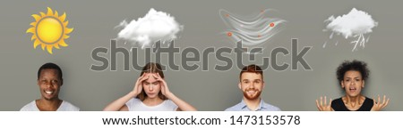 Creative forecast. Four Weather conditions with human emotions on gray background, panorama #1473153578