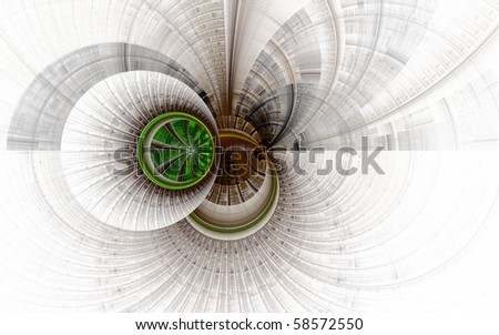 Creative fractal illustration - abstract background in brown on white, with shapes, circles, spheres, rings, lines, curves, element for screensaver, wallpaper, web template