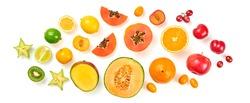 Creative fresh fruits layout. Papaya, apple, orange, kiwi, melon isolated on white background. Fruity diet summer concept. Tropical mix background. Colorful summertime fruit flat lay.