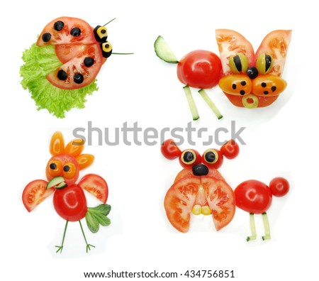 creative funny vegetable food snack with tomato lady-bird form