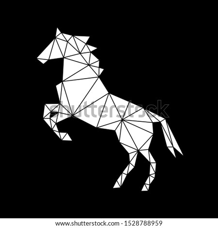 Creative geometric figure of a galloping horse made of white triangles on a black background. Minimalism in the style of trigonometry. Industrial loft.
