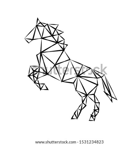 Creative geometric figure of a galloping horse stallion from a black ragged outline on a white background. Minimalism in the style of trigonometry. Industrial loft.