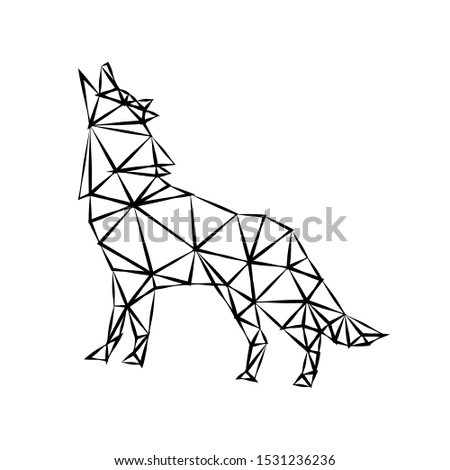 Creative geometric figure of a howling wolf from a black ragged outline on a white background. Minimalism in the style of trigonometry. Industrial loft.
