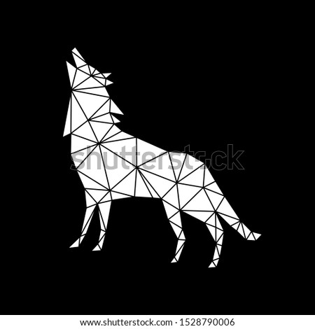 Creative geometric figure of a howling wolf from white triangles on a black background. Minimalism in the style of trigonometry. Industrial loft.