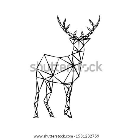 Creative geometric figure of a wild deer from a black torn contour on a white background. Minimalism in the style of trigonometry. Industrial loft.
