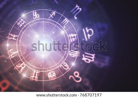 Creative glowing astrologic zodiac horoscope background. Astrology concept. 3D Rendering