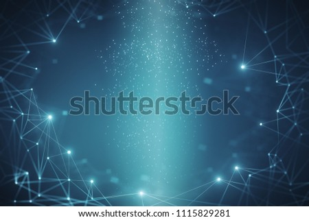 Creative glowing blue polygonal wallpaper. Science and technology concept. 3D Rendering