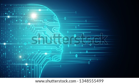 Creative glowing circuit head outline. AI and software concept. 3D Rendering