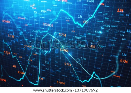 Creative glowing forex chart wallpaper with candlestick and index grid. Trade and stats concept. 3D Rendering