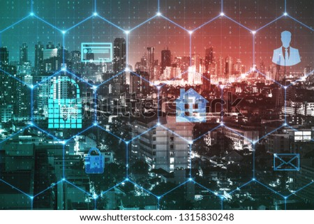 Creative glowing night city background with digital business interface and padlock. Security and internet concept. Double exposure  #1315830248