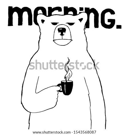 creative graphic illustration, sleepy bear drinks coffee. Early morning, work, Monday, funny character, cartoon. Coffee shop, poster, menu. Print product. simple line design. Caricature Coffee Break