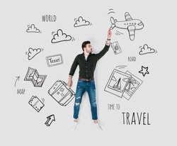 creative hand drawn collage with man and various travel signs
