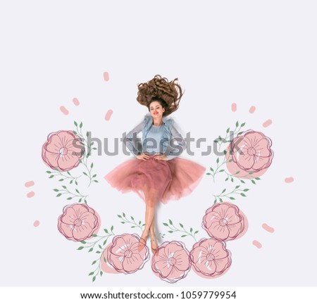 creative hand drawn collage with woman surrounded with flowers #1059779954