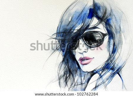 Creative hand painted fashion illustration