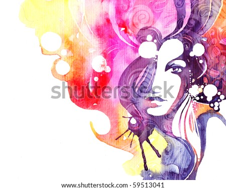 stock photo : Creative hand painted fashion illustration