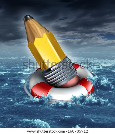 Creative help and support in a business concept as a yellow pencil saved by a life belt or lifesaver in a stormy ocean scene as a metaphor for creativity challenges or risk and saving good ideas